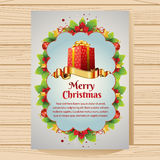 Merry Christmas Card. Christmas card with berry and other decoration item.  Additional file in eps 10 file, with no gradient meshes, blends, opacity, stroke path Royalty Free Stock Photography