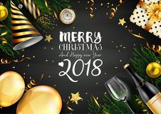 Merry christmas 2018 card with black and gold christmas elements. Illustration of Merry christmas 2018 card with black and gold christmas elements Royalty Free Stock Images