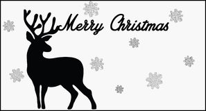 Merry Christmas card. Black and white deer Royalty Free Stock Photo
