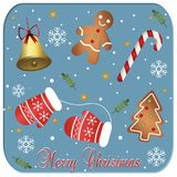 Merry Christmas Card on a blue background vector illustration