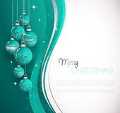 Merry Christmas card with blue bauble stock illustration