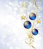 Merry Christmas  card with blue bauble Royalty Free Stock Images