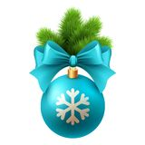 Merry Christmas  card with blue bauble Royalty Free Stock Photography