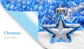 Merry Christmas card. With blue Christmas decoration Stock Images