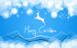 Merry christmas card blue deer. For greeting card Stock Images