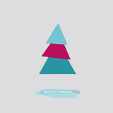 Merry Christmas card with blue pink tree. Cute Merry Christmas greeting card with a folded blue pink paper tree Stock Images