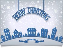 Merry Christmas card with blue signboard lettering Royalty Free Stock Image
