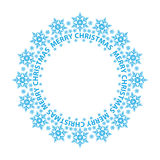 Merry Christmas card, blue snowflakes in a circle Stock Image