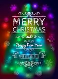 Merry Christmas card on blurred background vector illustration