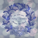 Merry Christmas card with bokeh Royalty Free Stock Photography