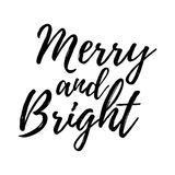 Merry Christmas card with calligraphy Merry and Bright. Template Royalty Free Stock Photos