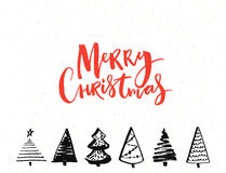 Merry Christmas card with calligraphy text and hand drawn christmas trees. Vector template design Stock Photos