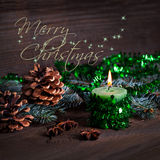 Merry christmas card with can Royalty Free Stock Photos