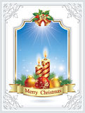 Merry Christmas. Christmas card with candles and Christmas balls in a decorative frame vector illustration