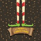 Merry christmas card with cartoon elfs legs Royalty Free Stock Photography