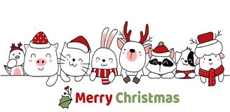 Free Merry Christmas Card Cartoon Hand Drawn Style. Royalty Free Stock Images - 164602729