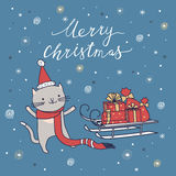 Merry Christmas card with cat Royalty Free Stock Image