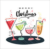 Merry Christmas. Christmas card with champagne glasses Royalty Free Stock Photos