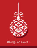 Merry christmas card with christmas ball Royalty Free Stock Photography