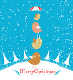 Merry christmas card with christmas bird Royalty Free Stock Images