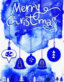 Merry Christmas card, Christmas bubbles,  trees and snowflakes. Stock Photo