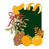 Merry christmas card. Christmas card with a sprig of mistletoe, a rat bow, mandarins and bumps. vector illustration hand-drawn in retro style Royalty Free Illustration