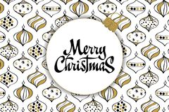 Merry Christmas card with christmas toys white, gold and black colors. royalty free illustration