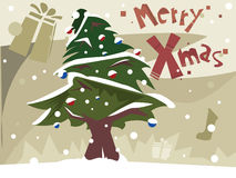 Merry Christmas Card with Christmas Tree. Merry Christmas Postcard with Green Christmas Tree; illustration stock illustration