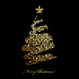 Merry Christmas card with christmas tree from disc. Vector Merry Christmas card with christmas tree from disco lights vector illustration