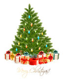 Merry Christmas card with Christmas tree and gift boxes Royalty Free Stock Images