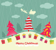 Merry christmas card with christmas trees and gift Royalty Free Stock Photos