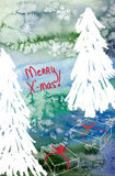 Merry Christmas card with Christmas trees and gifts Royalty Free Stock Photography