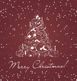 Merry christmas card with christmas trees Royalty Free Stock Images