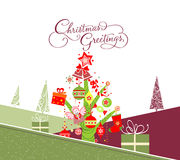 Merry christmas card with christmas trees Royalty Free Stock Image
