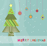 Merry christmas card with christmas trees Stock Photography