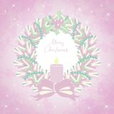 Merry Christmas card with a Christmas wreath Stock Photo