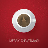 Merry Christmas Card with Coffee Cup Royalty Free Stock Images