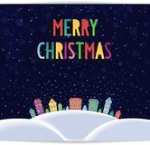 Merry Christmas card with colored lettering design Royalty Free Stock Photo