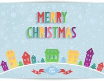 Merry Christmas card with colored lettering design Royalty Free Stock Photos