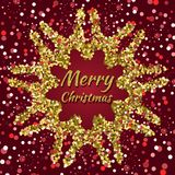 Merry Christmas background with confetti and snow. Merry Christmas card with confetti and snow on dark red background Stock Photography