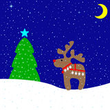 Merry Christmas card. Christmas card with cute beige reindeer wearing red nose, Christmas bells and harness, fir-tree decorated with Christmas star and beautiful Royalty Free Stock Images