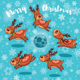 Merry Christmas card with cute cartoon deers Stock Photography