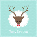 Merry Christmas card with cute deer with bow. Royalty Free Stock Photography