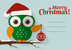 Merry Christmas! Card with cute owl and a place for text. Royalty Free Stock Image