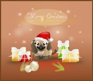 Merry Christmas card with cute puppy Royalty Free Stock Photography