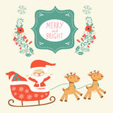 Merry Christmas card with cute Santa Claus and Stock Image