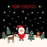 Merry Christmas card with cute Santa Claus, xmas trees, deer, fox and snowflakes Royalty Free Stock Photography