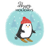 Merry Christmas card with cute skiing penguin. Happy New Year vector illustration for greeting cards design, print, posters stock illustration