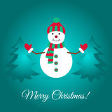 Merry Christmas card with cute snowman and spruces. Merry Christmas. Cute snowman and spruces. Greeting card template. Flat design vector illustration stock illustration
