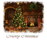 Merry Christmas Card, 3d CG. 3d CG graphics of a living room on Christmas Eve Royalty Free Stock Images